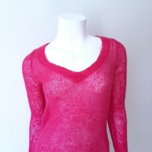 Anthropologie Sweaters - Anthro Charlie & Robin Pink Mohair Sheer Sweater